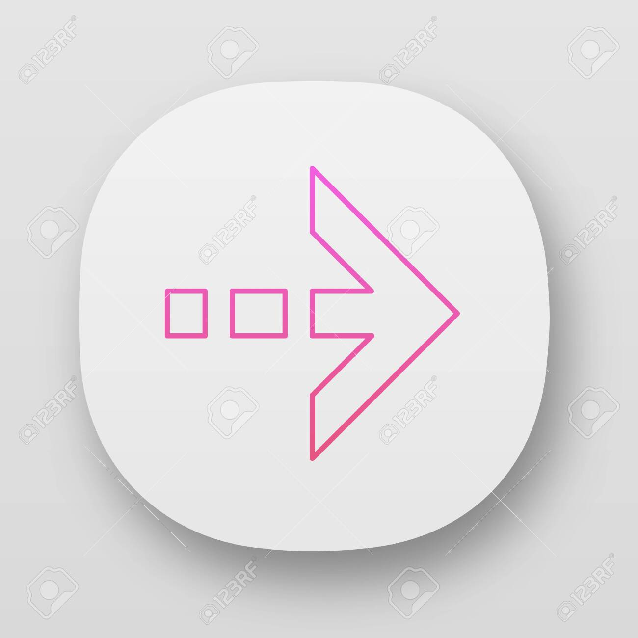 Arrow with dotted dash line app icon  East direction  Arrow indicating