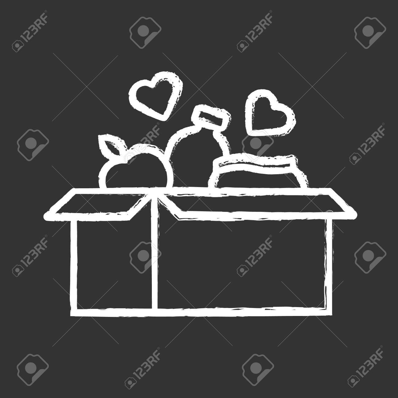 Food donations chalk icon. Charity food collection. Box with meal, hearts. Humanitarian volunteer activity. Helping people in need. Hunger support program. Isolated vector chalkboard illustration - 129559056