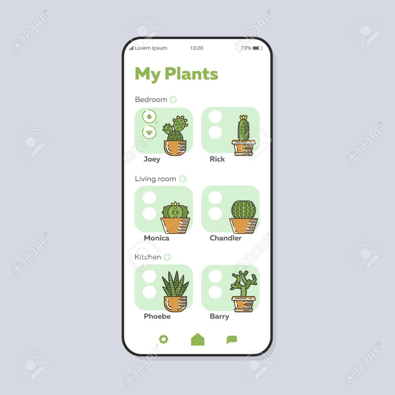 Houseplants care smartphone interface vector template  Mobile