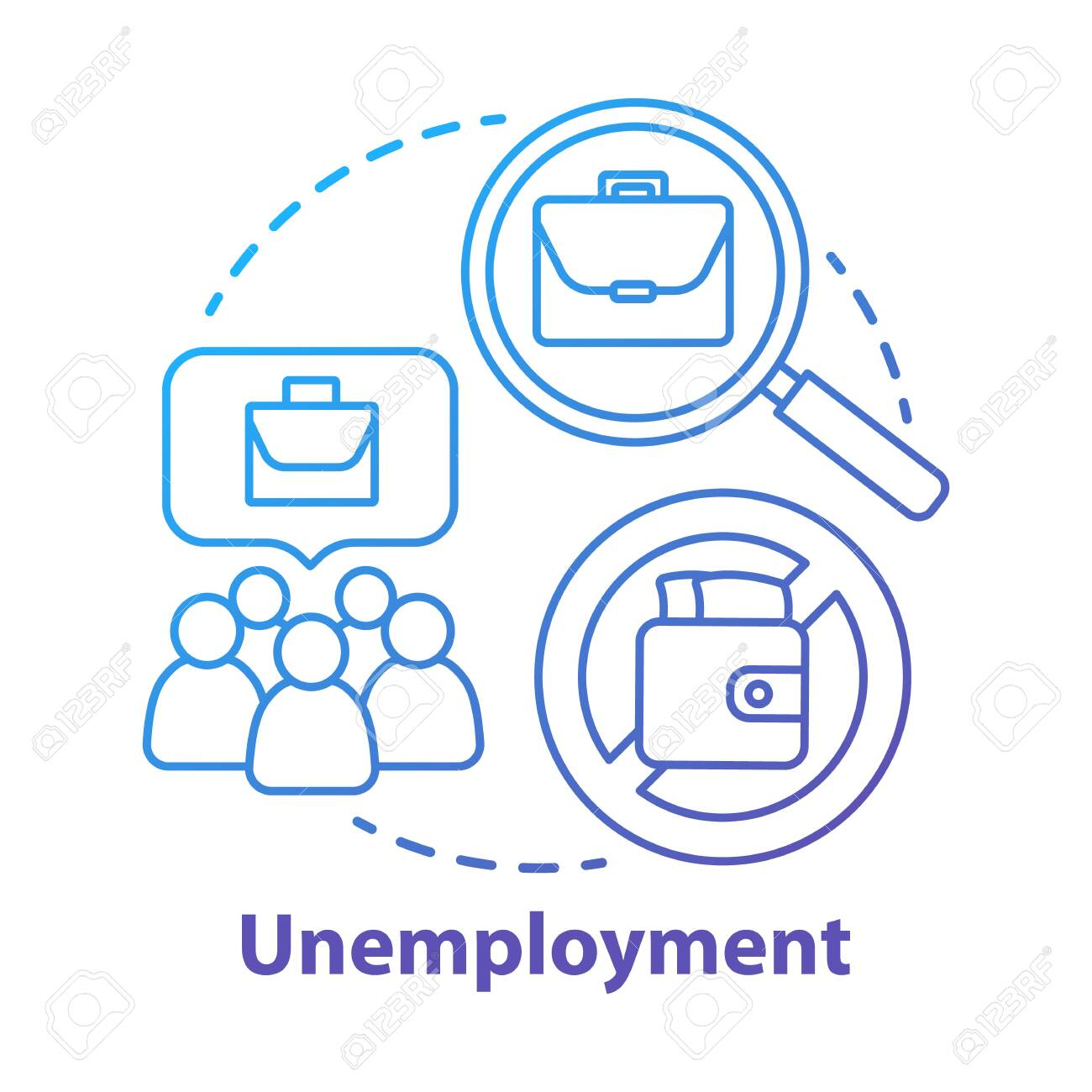 Unemployment concept icon. Poverty idea thin line illustration. Joblessness. Jobless and unemployed people. Economy social problem. Workers rights. Vector isolated outline drawing - 129943969