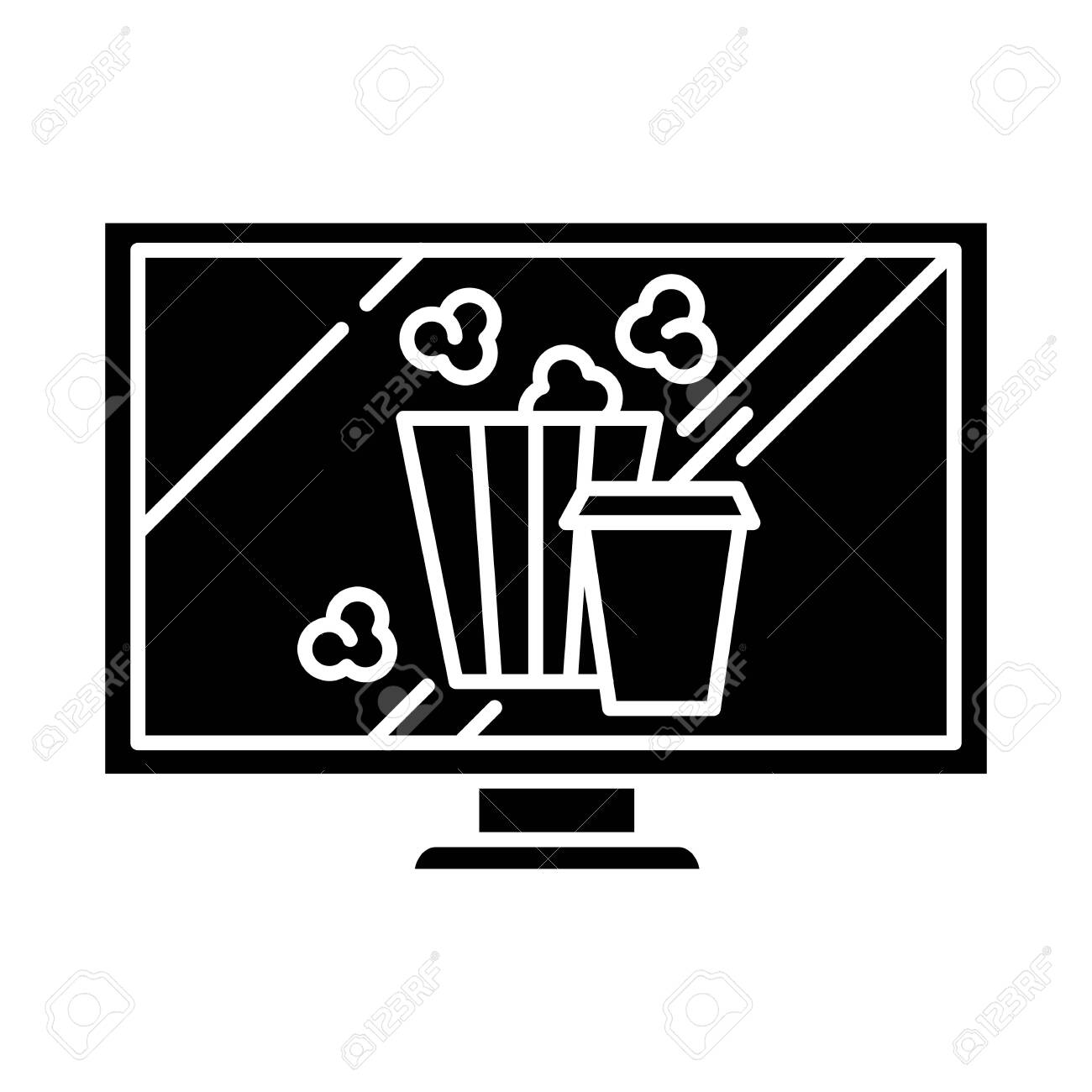 Movies and television glyph icon. Watching films, tv shows online. Popcorn and drinks. E commerce department, shopping categories. Silhouette symbol. Negative space. Vector isolated illustration - 132909817