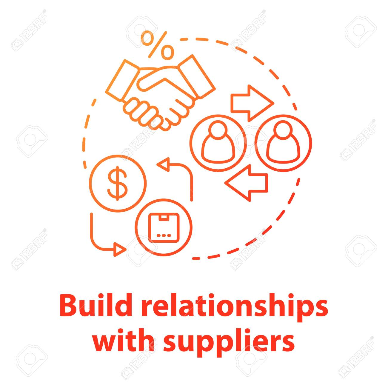 Build relationships with suppliers red concept icon. Business agreement idea thin line illustration. Supply chain management. Companies collaboration. Vector isolated outline drawing - 132919334