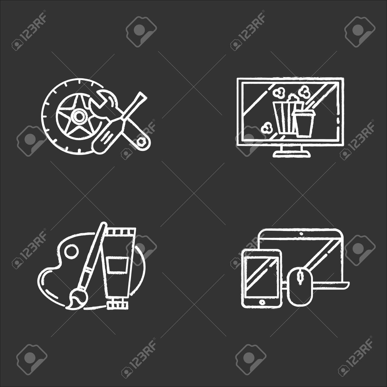 E commerce departments chalk icons set. Online shopping categories. Internet retail. Arts and crafts, hobbies. Electronics. Auto parts. Movies and television. Isolated vector chalkboard illustrations - 132881361