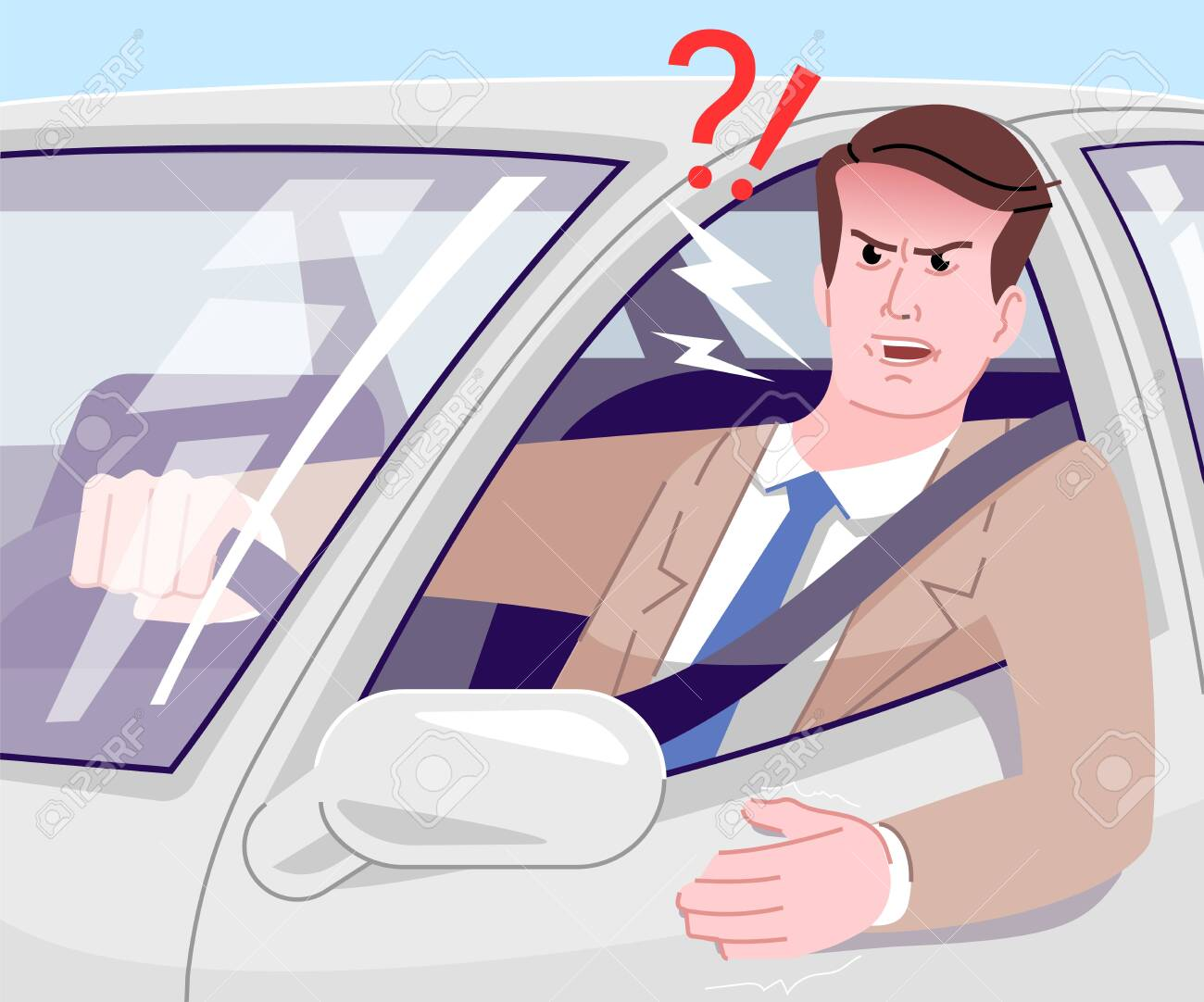 Traffic Jam Stress Flat Vector Illustration Angry Businessman Royalty Free Cliparts Vectors And Stock Illustration Image 132915643