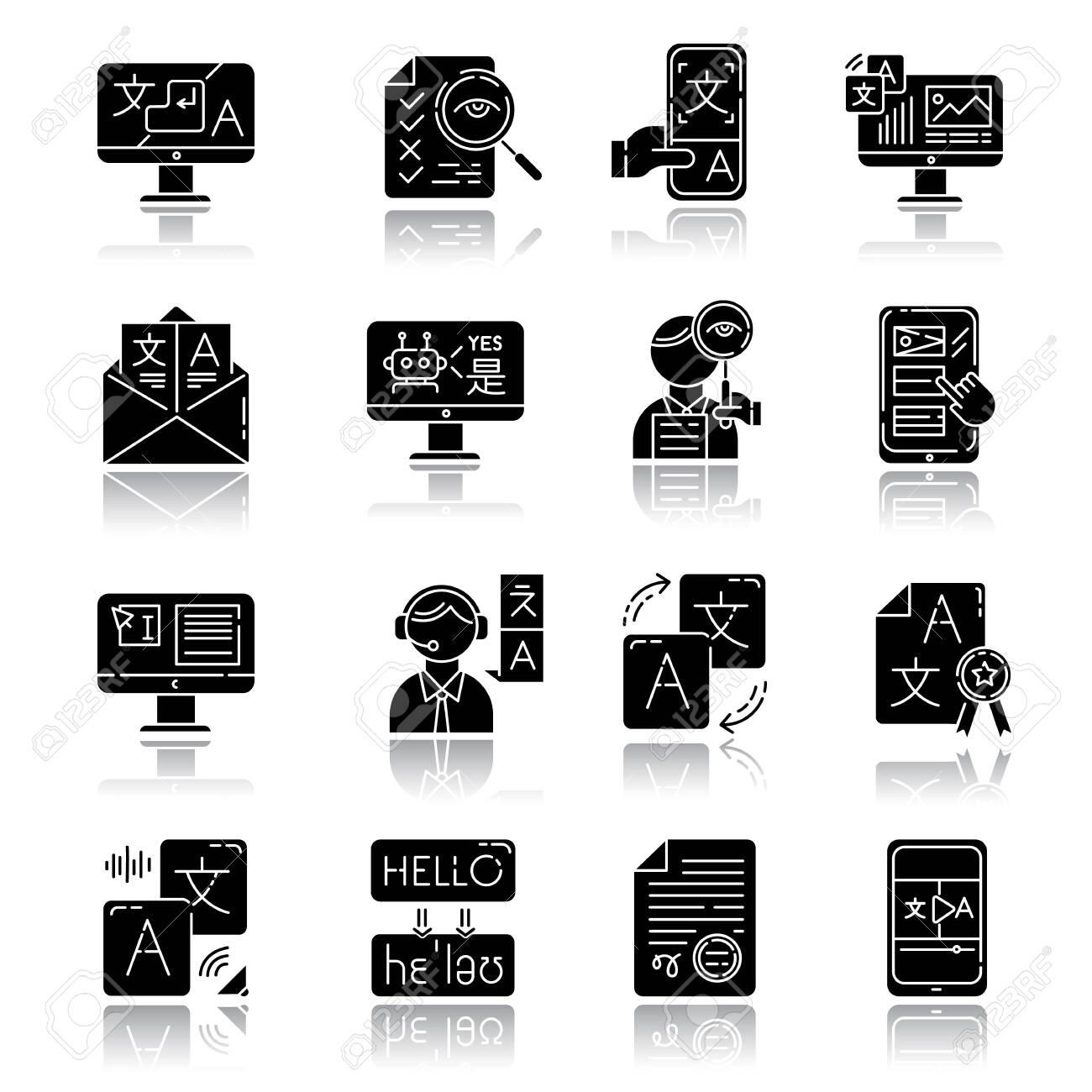 Language translation service drop shadow black glyph icons set. Instant translation. Audio, video interpretation. Multilingual app, chatbot. Transcription, proofreading. Isolated vector illustrations - 133528204