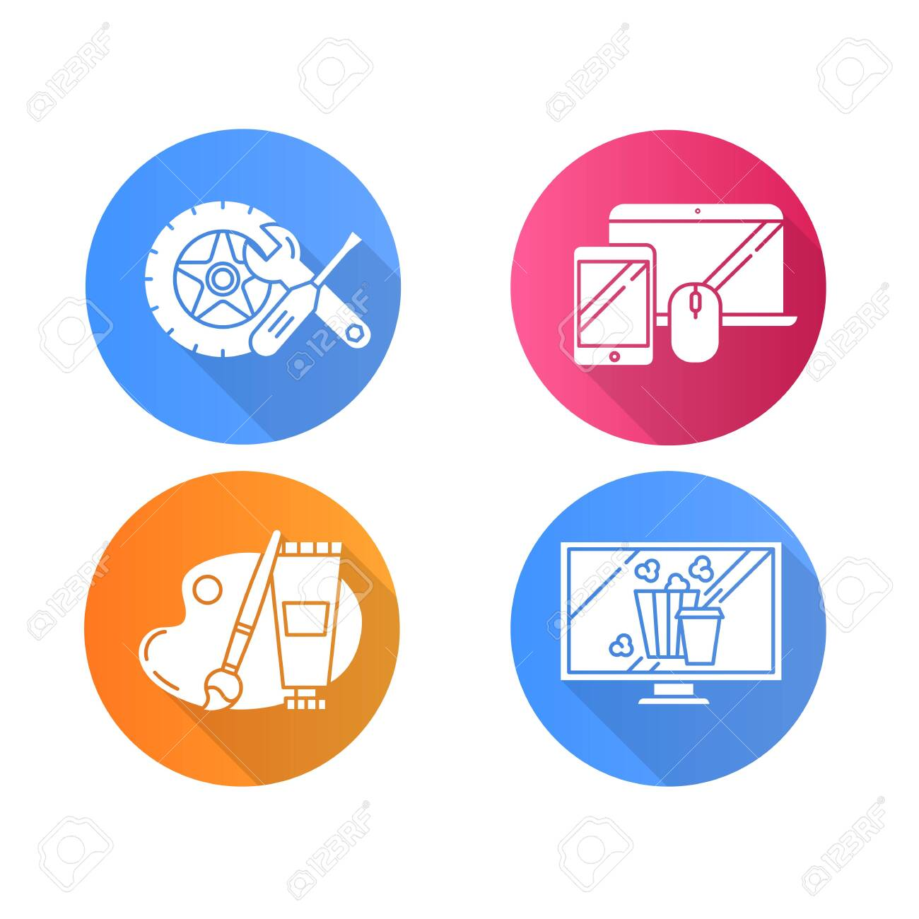 E commerce departments flat design long shadow glyph icons set. Online shopping categories. Internet retail. Arts and crafts. Auto parts. Movies and television. Vector silhouette illustration - 134208731