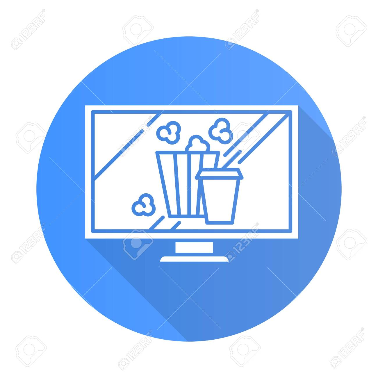Movies and television blue flat design long shadow glyph icon. Watching films, shows. Video technology. Popcorn and drinks. E commerce department, shopping categories. Vector silhouette illustration - 135678329