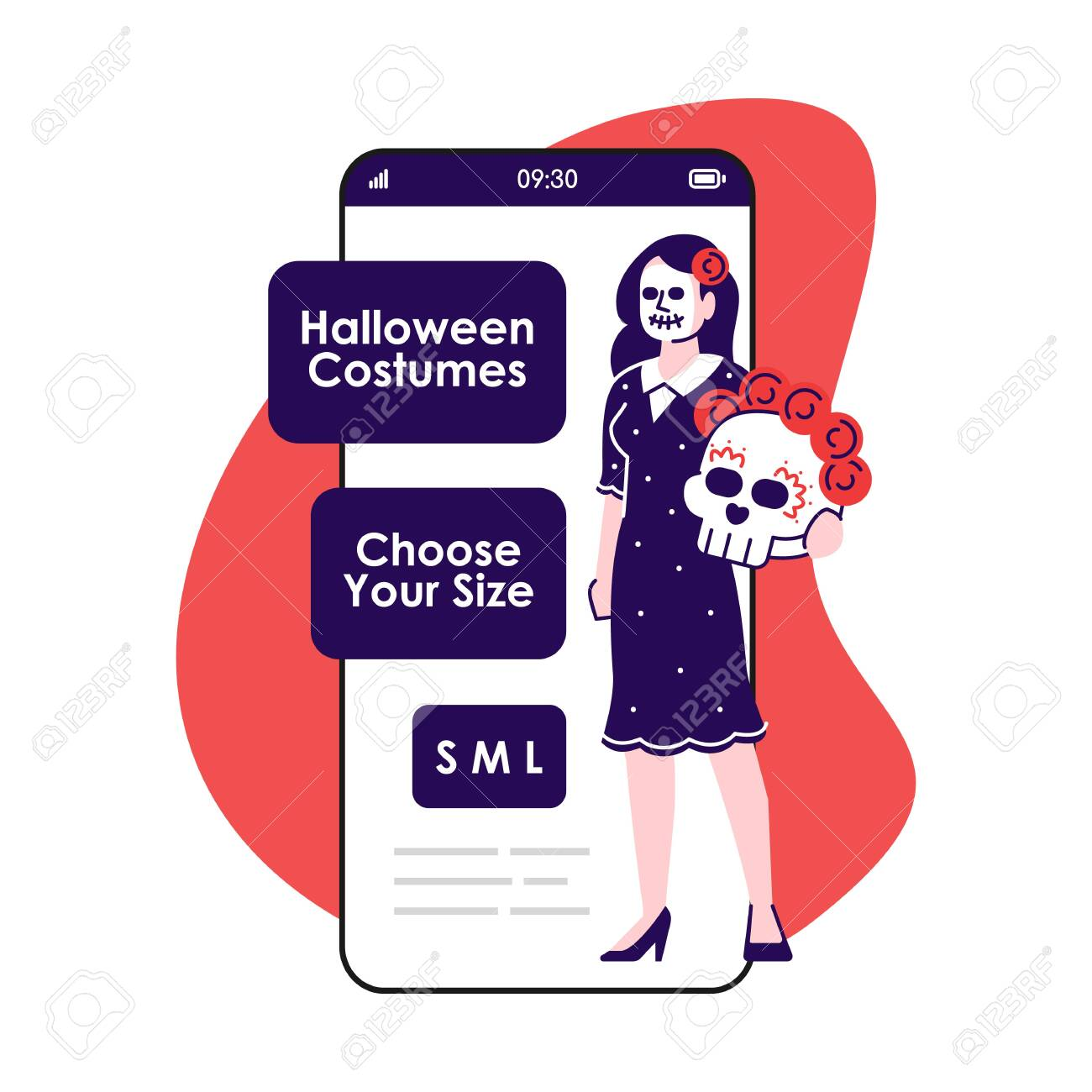Halloween Costumes Smartphone App Screen Mobile Phone Displays Royalty Free Cliparts Vectors And Stock Illustration Image 135689529