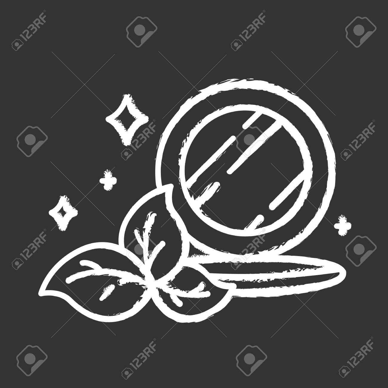 Compact pressed makeup powder chalk icon. Face skincare product. Mineral powder foundation. Bronser. Visage beauty aid item with mirror. Organic cosmetics. Isolated vector chalkboard illustration - 135088021