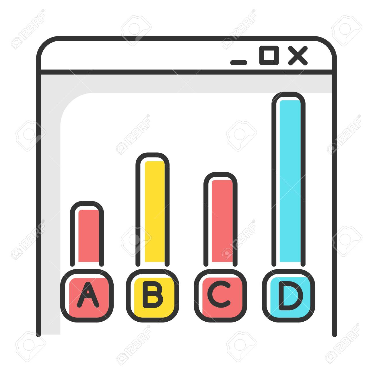 Online survey color icon. Statistics analysis. Web chart. Internet graph. Histogram bar increase. Info collection. Data research. Digital questionnaire. Diagram. Isolated vector illustration - 134459482