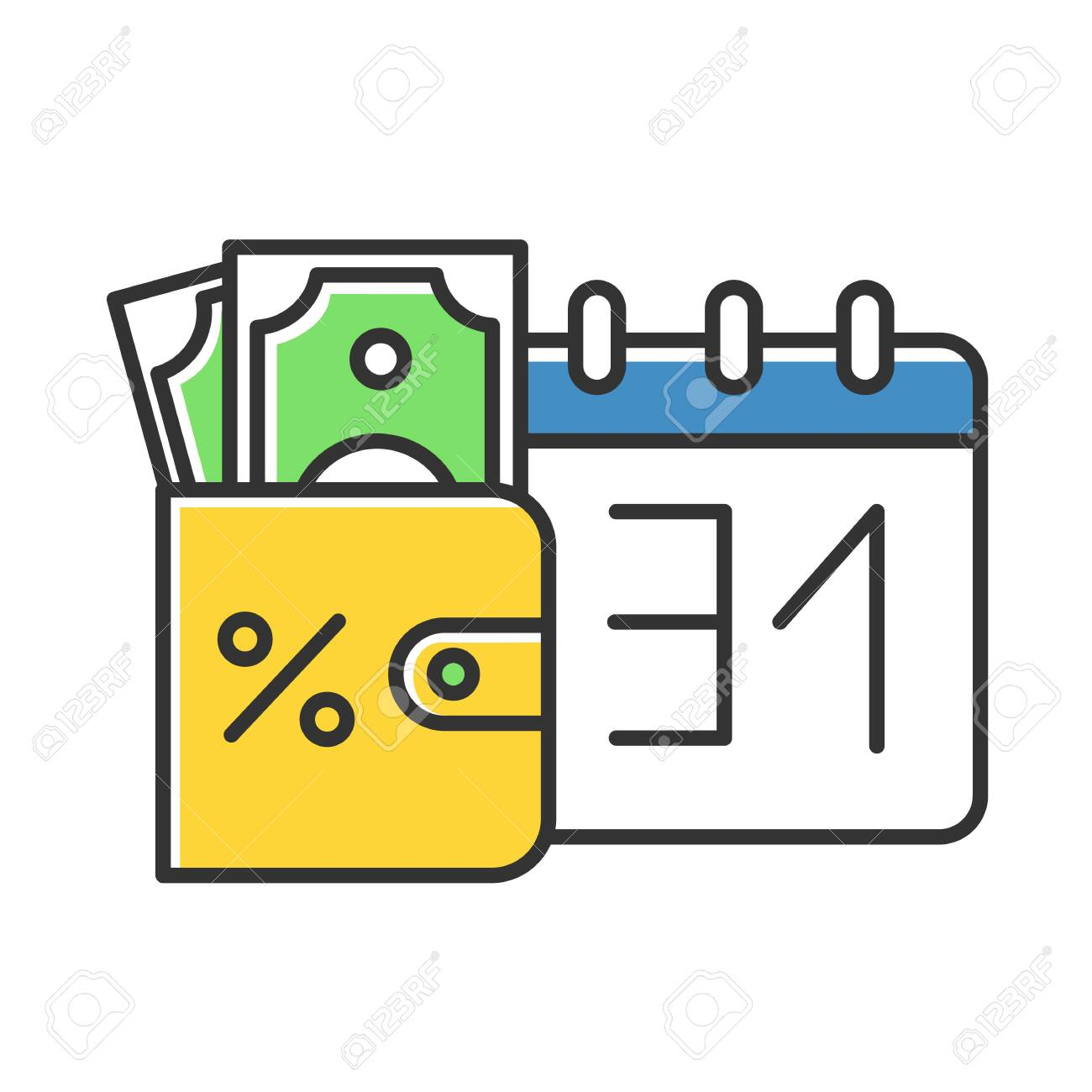 Credit money color icon. Payday loan. Currency in wallet. Tracking increseasing percentage rate income. Budget managment. Investment, income. Finances, economy. Isolated vector illustration - 134459810