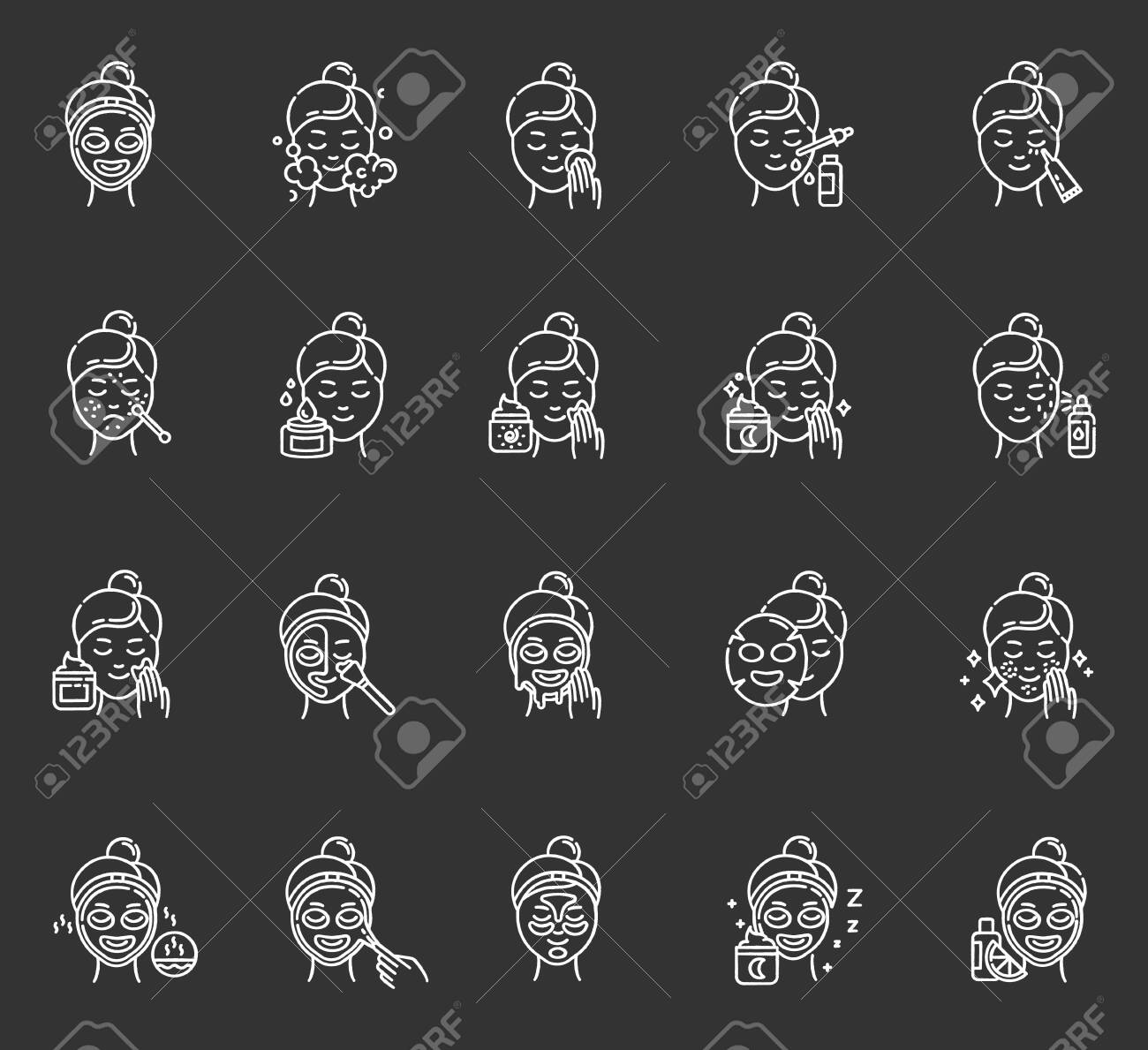 Skin care procedures chalk icons set. Using face cream. Liquid, sheet, peel-off mask. Beauty products. Night time routine. Spot treatment. Vitamin C serum. Isolated vector chalkboard illustrations - 134836410