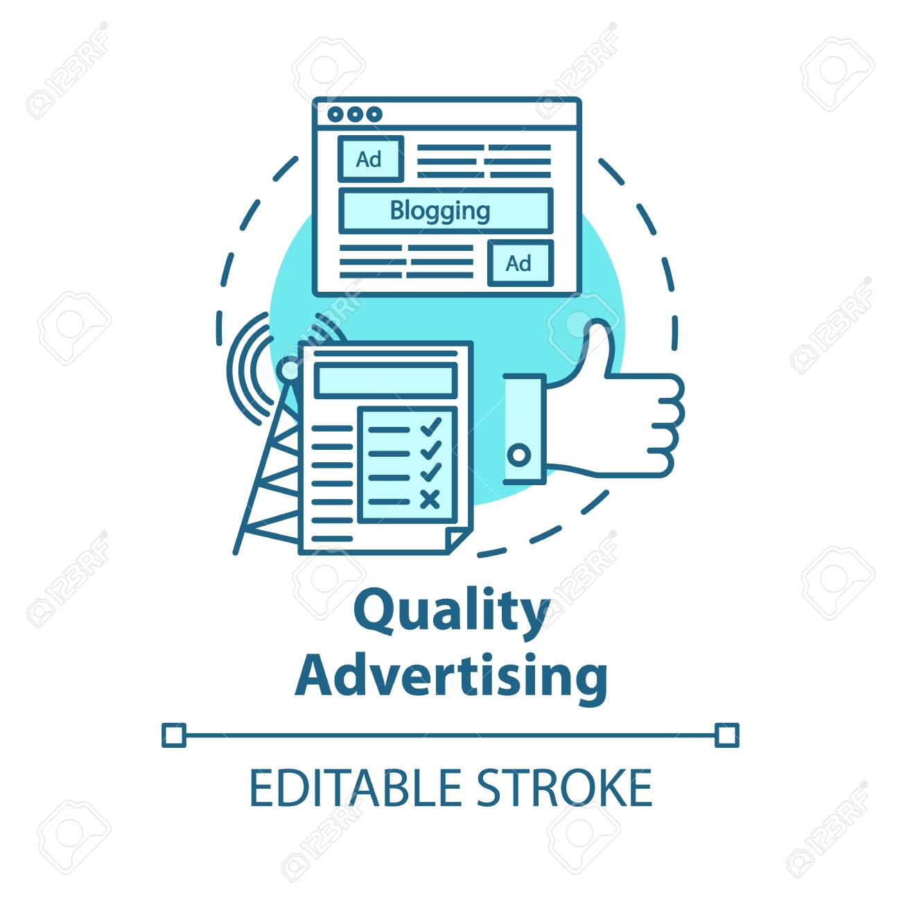 Quality advertising concept icon. Commercial promotion. Successful propaganda. Advertisement marketing. Giving publicity idea thin line illustration. Vector isolated outline drawing. Editable stroke - 135545069