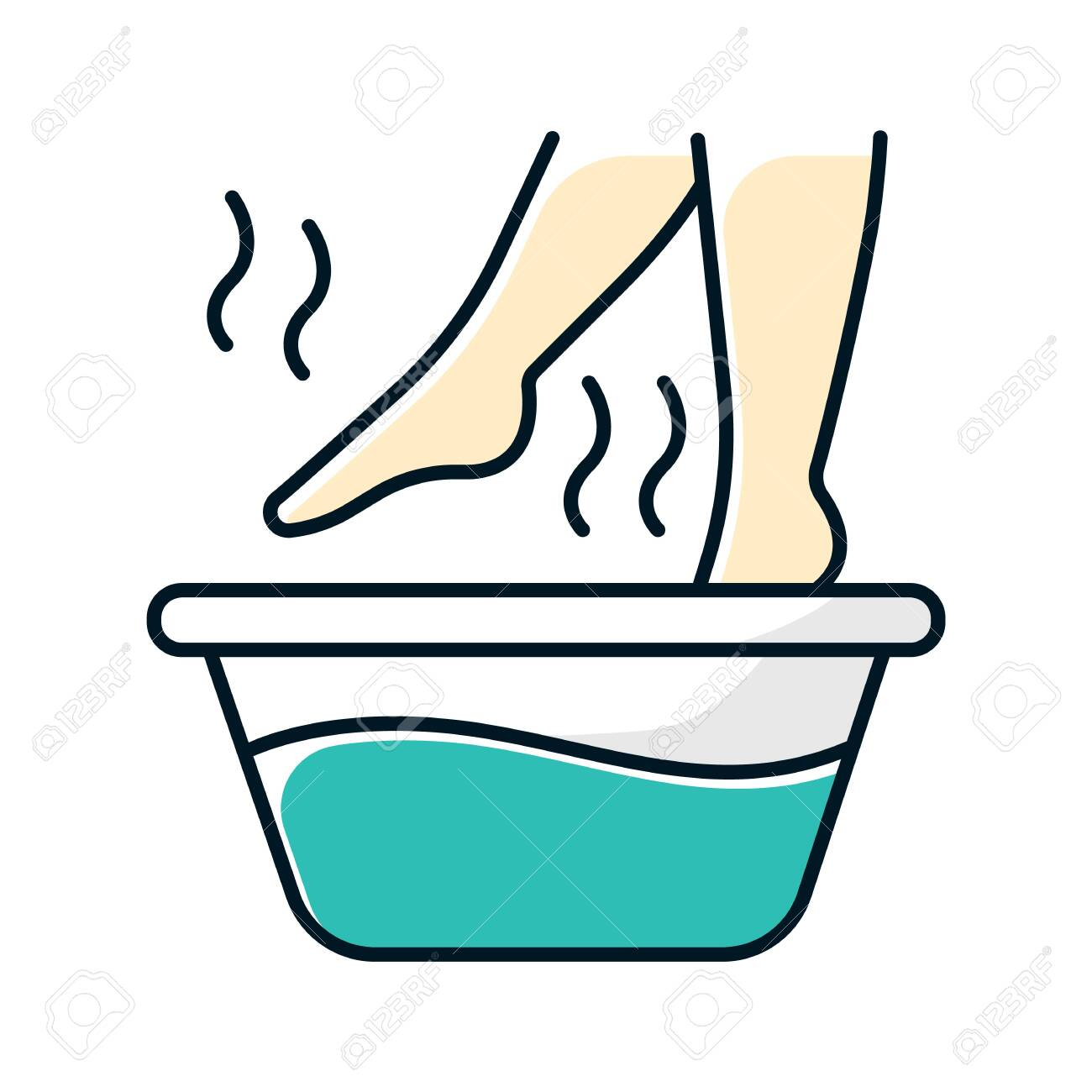 Foot bath color icon. Leg in hot water. Spa treatment. Common cold treatment. Healthcare and skincare. Wellness. Flu infection, influenza virus aid. Sickness help. Isolated vector illustration - 136400865