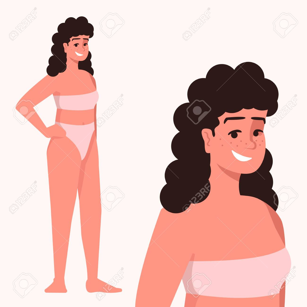 Woman Dressed In Two Piece Swimsuit Flat Vector Illustration