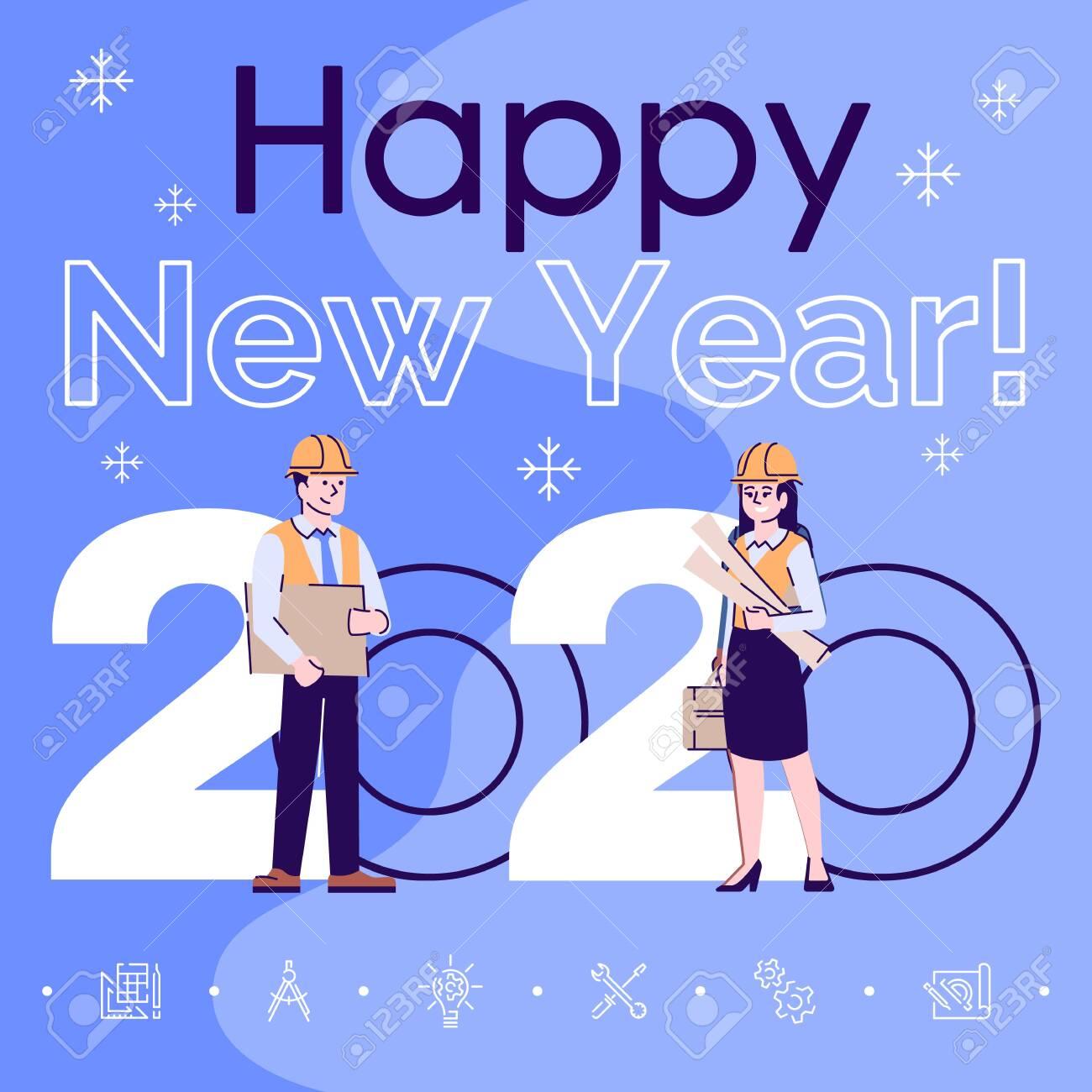 Profession Social Media Post Mockup Happy New Year 2020 Phrase Royalty Free Cliparts Vectors And Stock Illustration Image 137352435