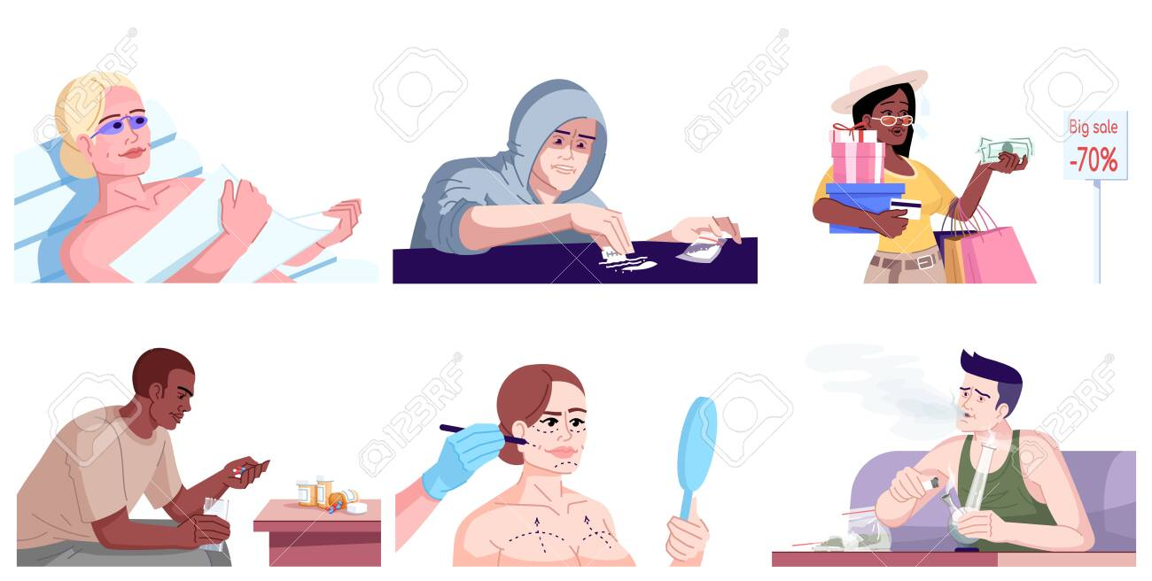Human addiction flat vector illustrations set. Behavioral disorders. Shopaholic, drug, cocaine, cannabis addicts, fashion victims. Men and women with unhealthy dependences isolated cartoon characters - 138599555