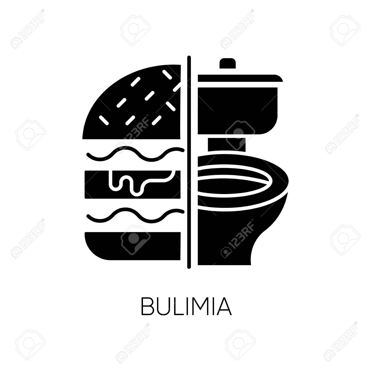 Bulimia Glyph Icon Eating Disorder Vomiting Food In Bathroom