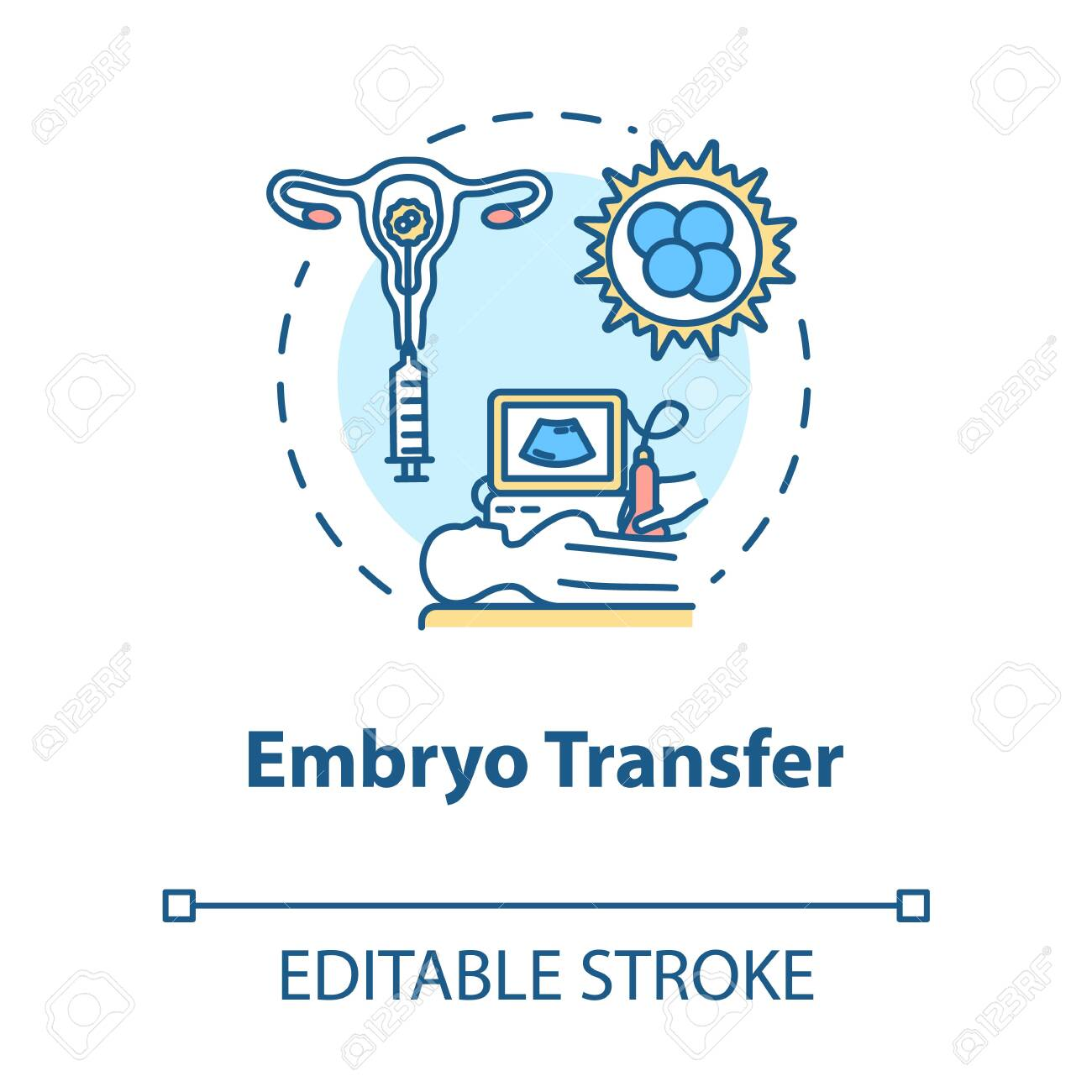 Embryo transfer concept icon. Ultrasound test. Pregnancy aid. Infertility treatment. Reproductive technology idea thin line illustration. Vector isolated outline RGB color drawing. Editable stroke - 140699951