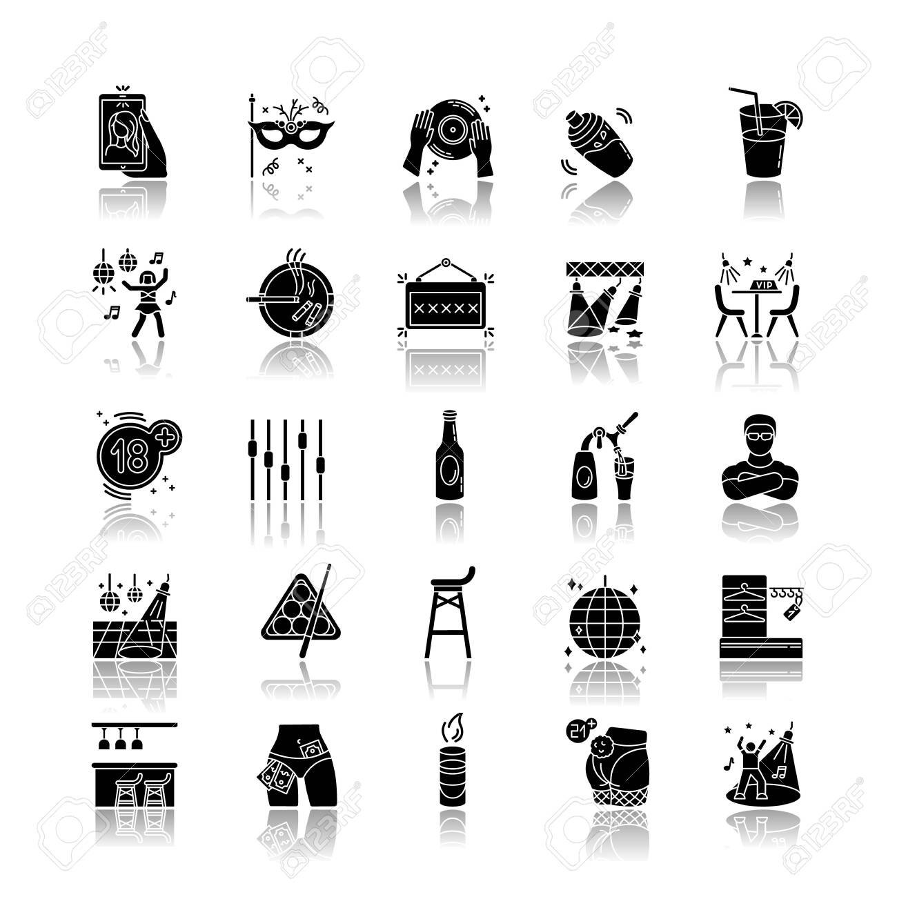 Night club drop shadow black glyph icons set. Entertainment venue, dancing and drinking establishment. Nightclub lifestyle, late night party. Isolated vector illustrations on white space - 142186019