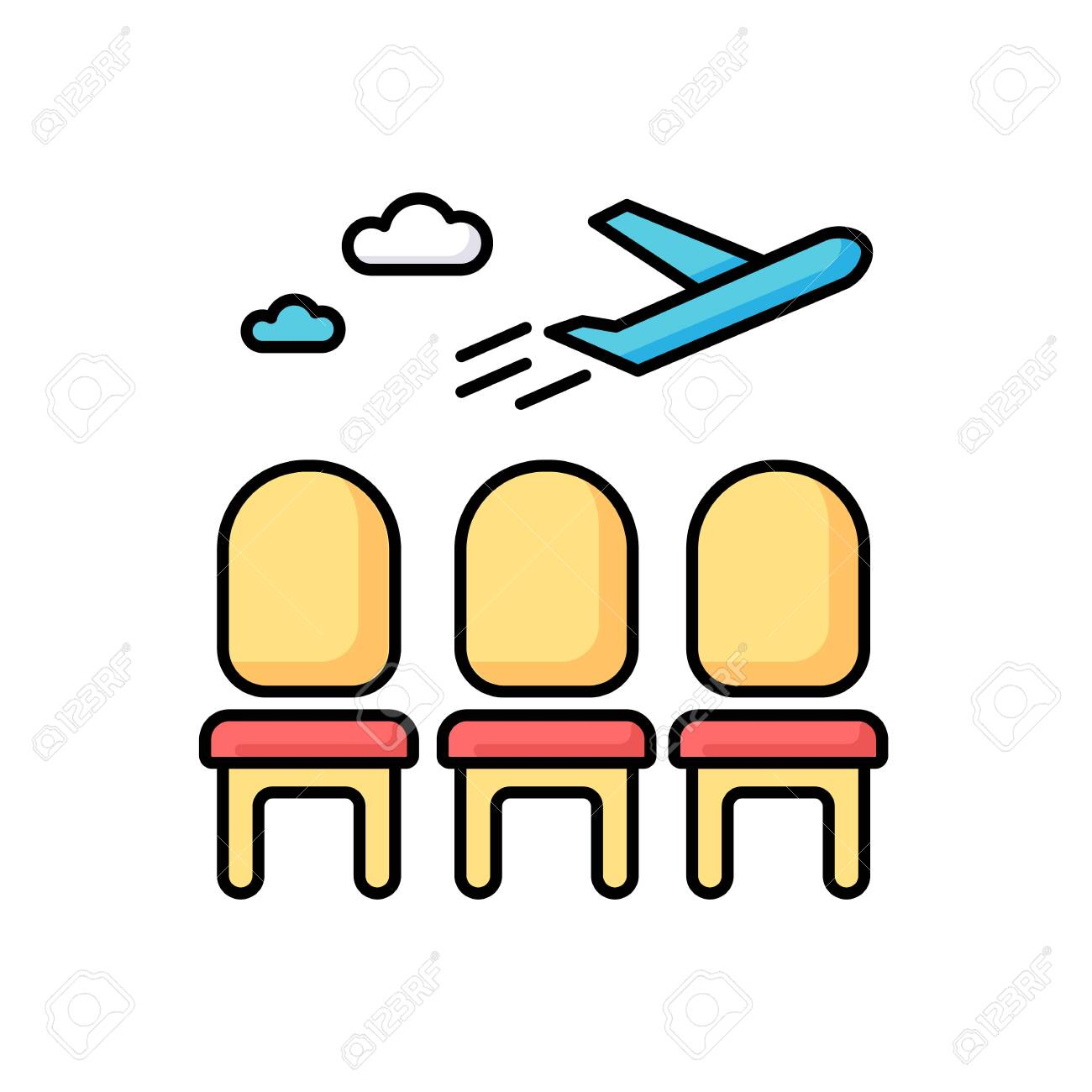 Airport Lounge Rgb Color Icon Waiting Lobby Before Airplane Royalty Free Cliparts Vectors And Stock Illustration Image 143161447