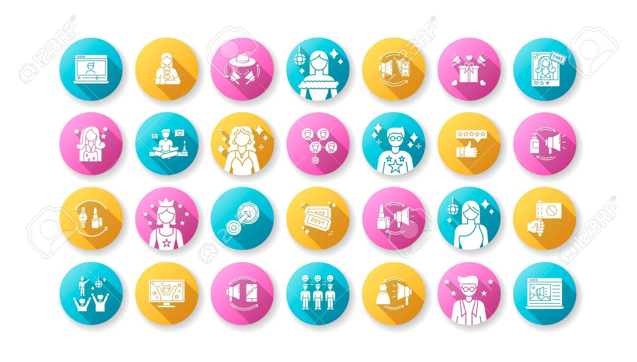 Social media promotion flat design long shadow glyph icons set. Digital marketing with influencers. Product promotion. Loyal audience. Top review. Silhouette RGB color illustration - 143533250