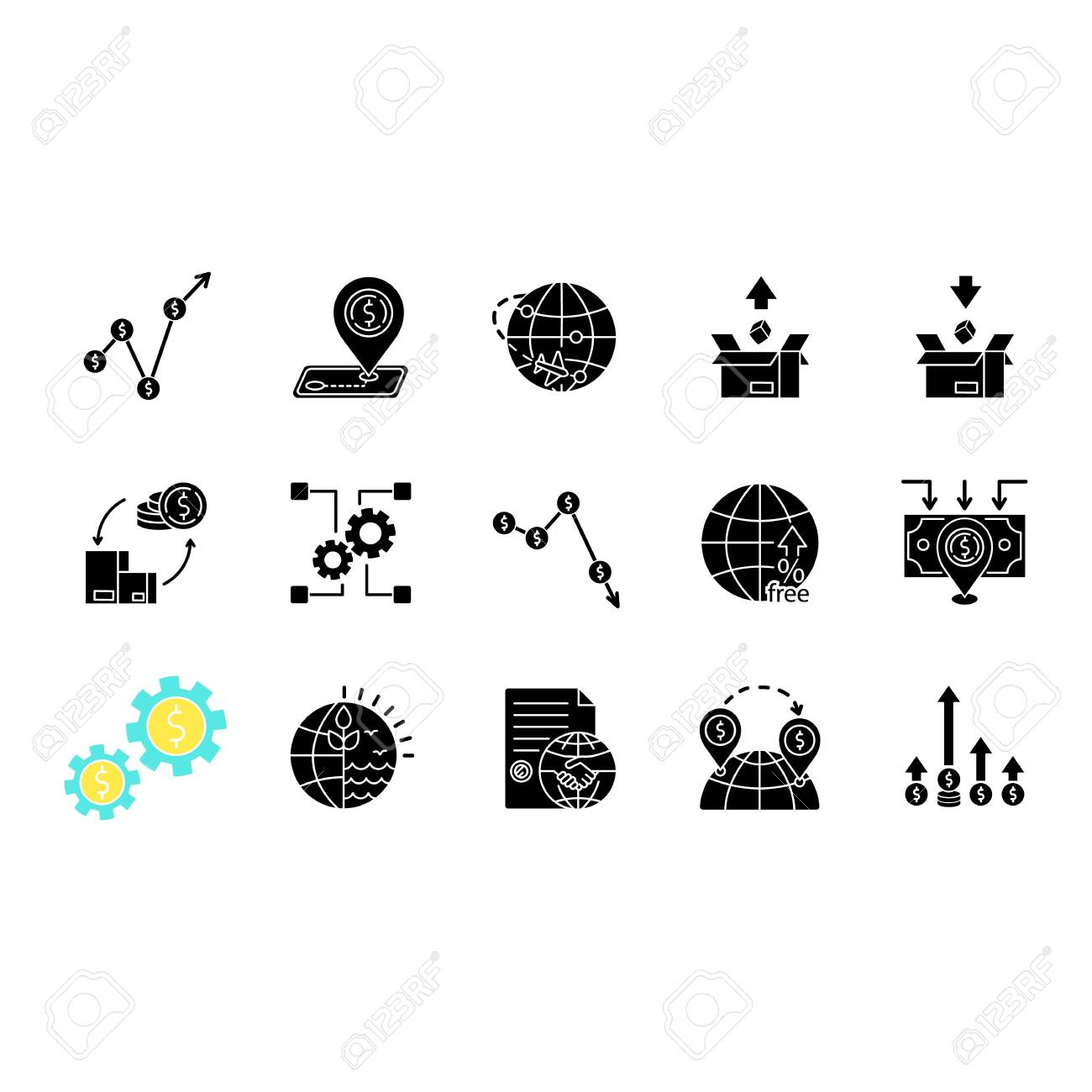 Global trade black glyph icons set on white space. World economics, investment and income. Export and import, business assets and natural resources. Silhouette symbols. Vector isolated illustration - 144435390