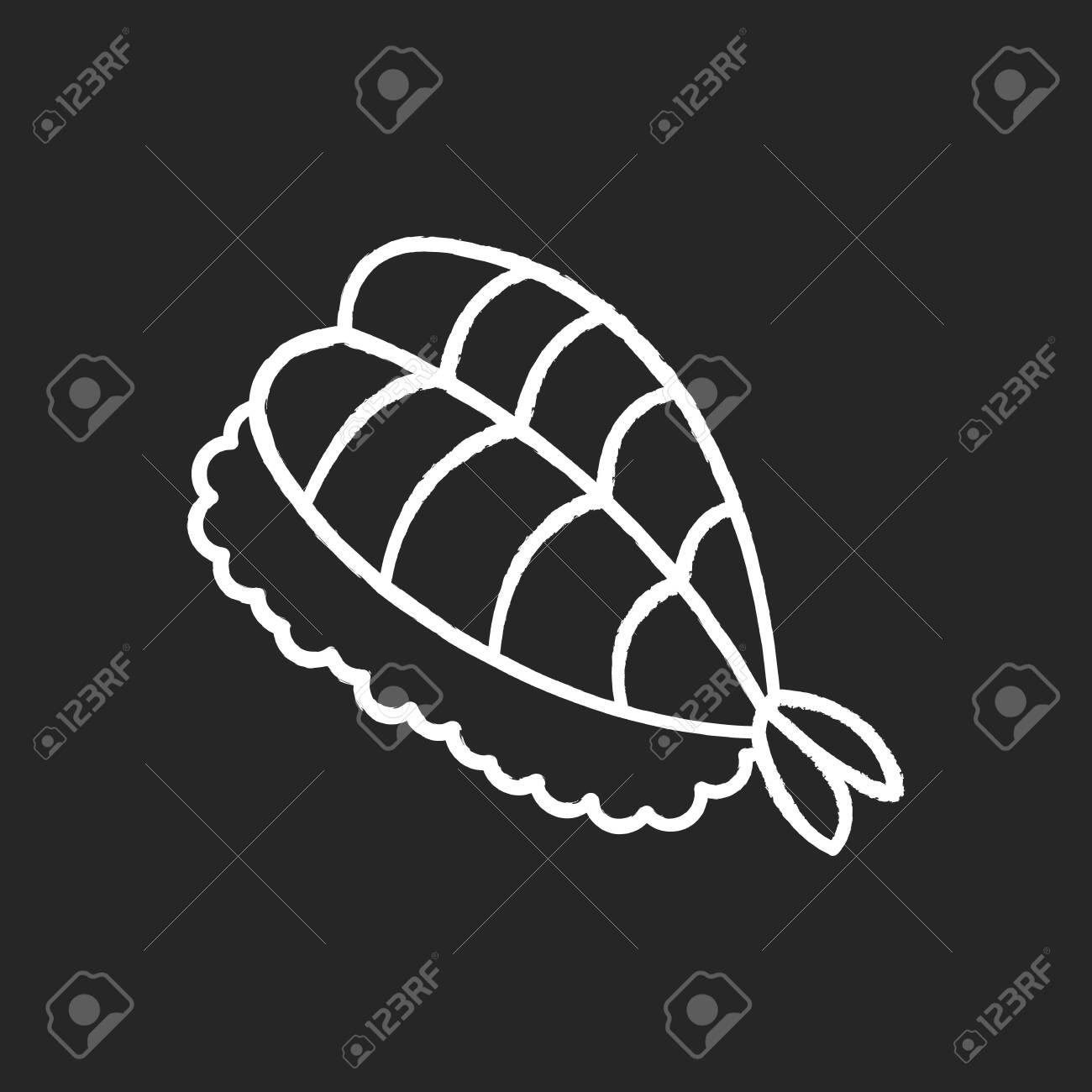 Sushi chalk white icon on black background. Fresh seafood. Sashimi meal. Fish on rice. Traditional japanese cuisine. Asian delicacy. Shrimp, prawn dish. Isolated vector chalkboard illustration - 144436154