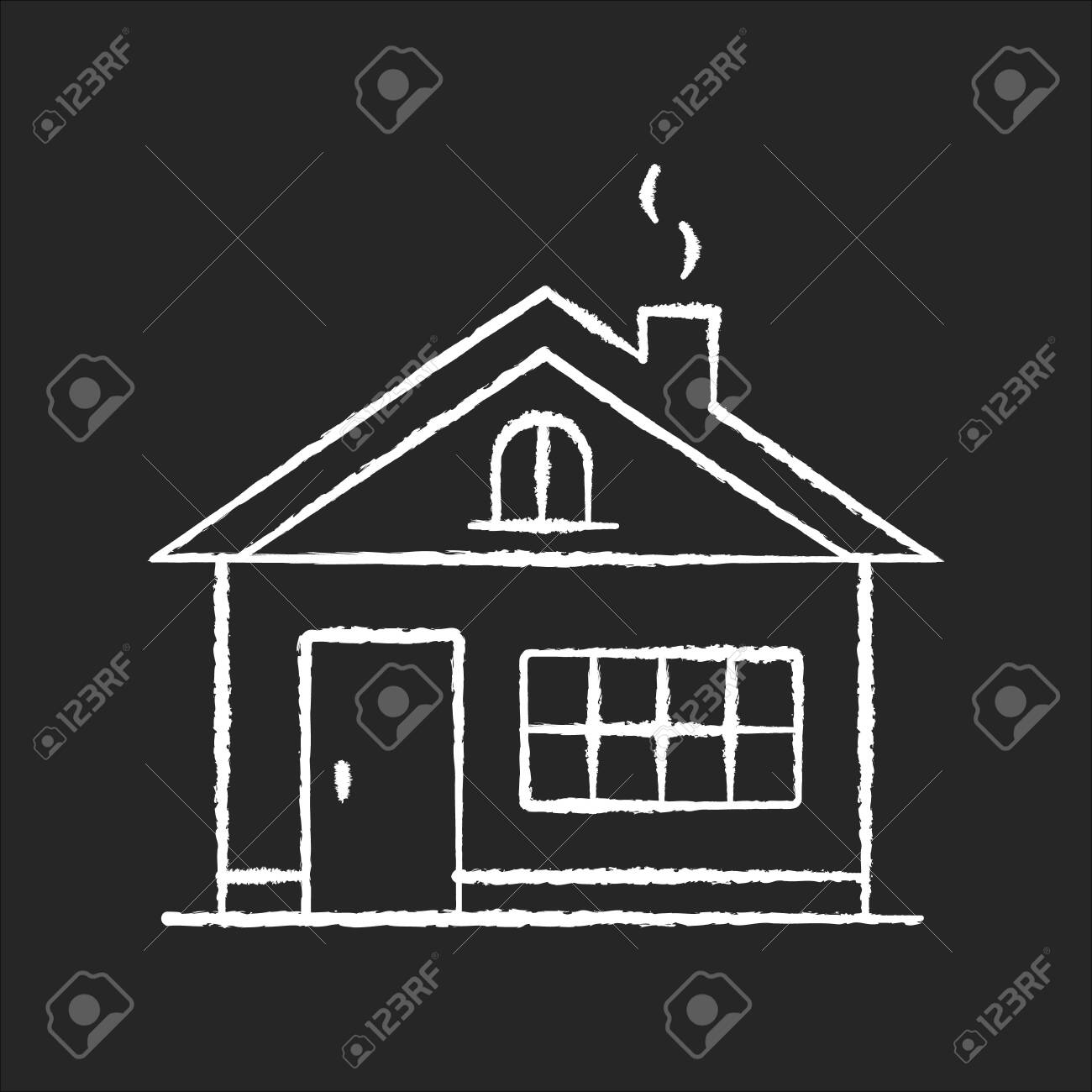 House chalk white icon on black background. Residential home exterior. Real estate for renting. Dwelling building in suburban area. Household property. Isolated vector chalkboard illustration - 145552532