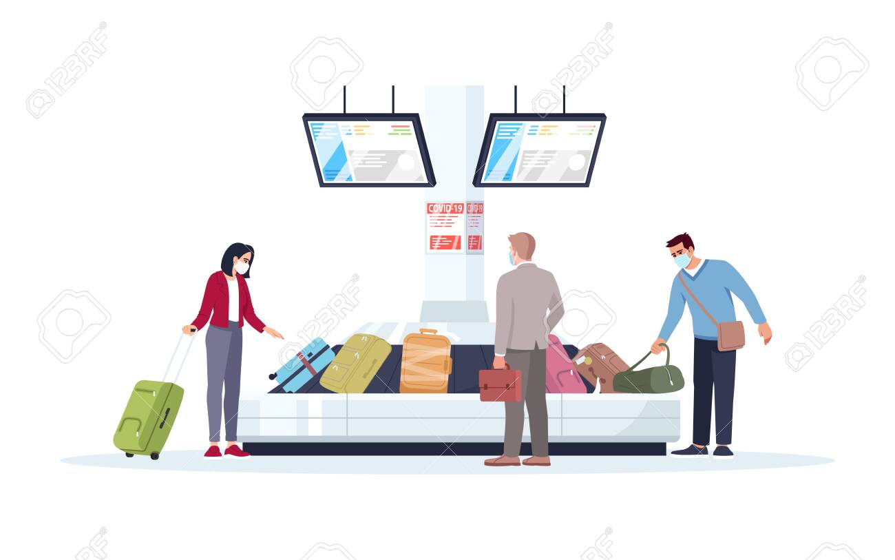 Baggage carousel semi flat RGB color vector illustration. Tourists in medical masks wait for luggage. People get bags in airport terminal. Passengers isolated cartoon character on white background - 145552260