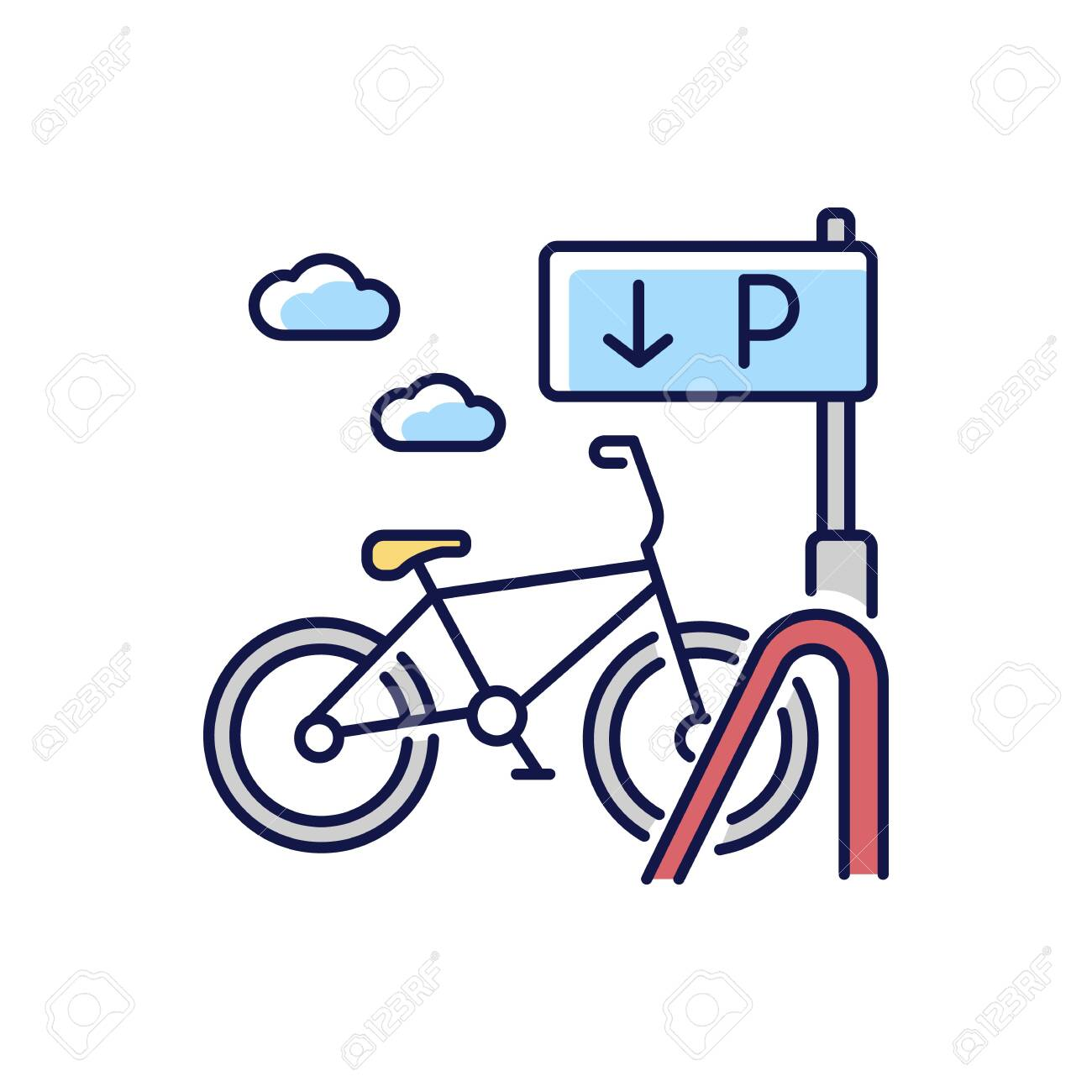 Bicycle parking rack RGB color icon. Ecological urban transportation. Corporate parking lot with road sign. Navigation pointer for bike. City transit means. Isolated vector illustration - 148170828