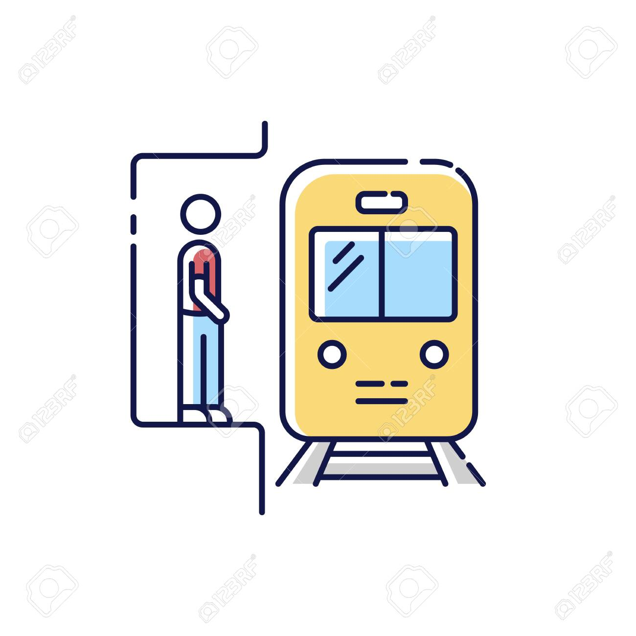 Subway RGB color icon. Railway station. Platform for passenger to wait for metro train. Fast public commuter. Urban infrastructure. City transit means. Isolated vector illustration - 148171647
