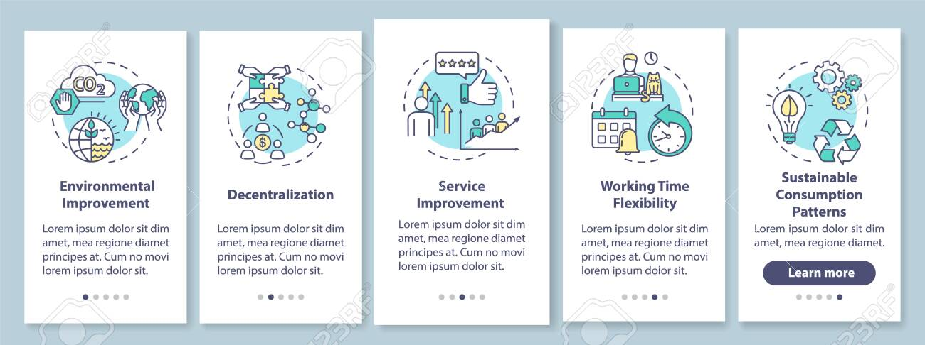 Sharing economy benefits onboarding mobile app page screen with concepts. Modern business model advantages walkthrough five steps graphic instructions. UI vector template with RGB color illustrations - 148175700