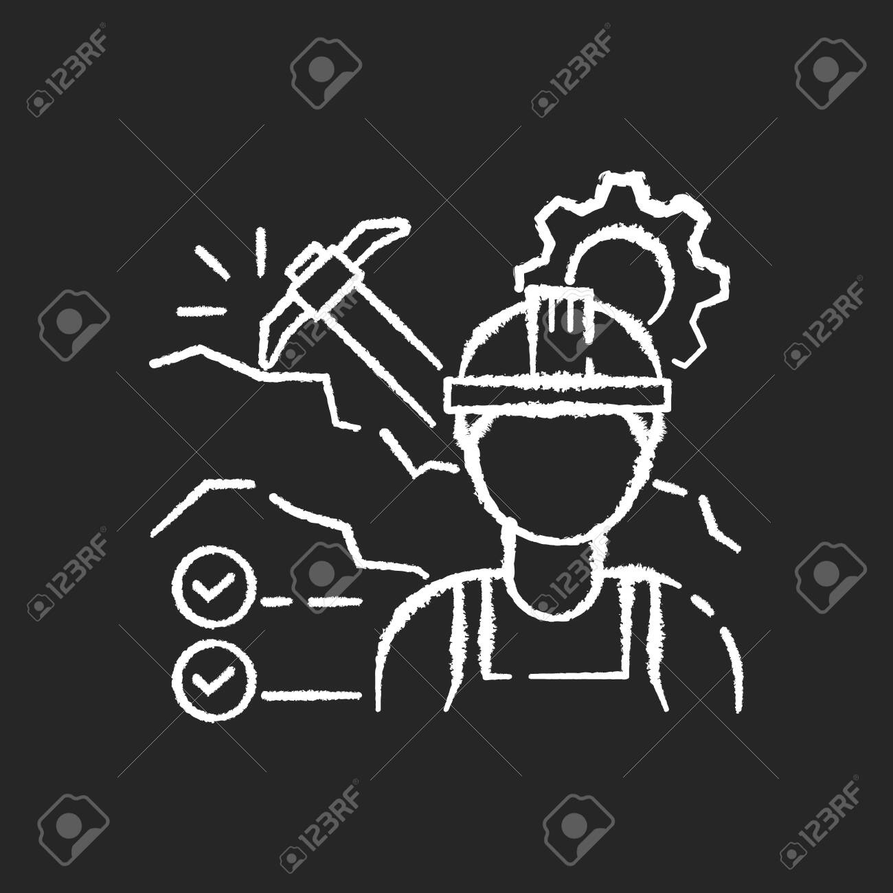 Mining Engineer Chalk White Icon On Black Background Heavy Manufacturing Royalty Free Cliparts Vectors And Stock Illustration Image 148805559