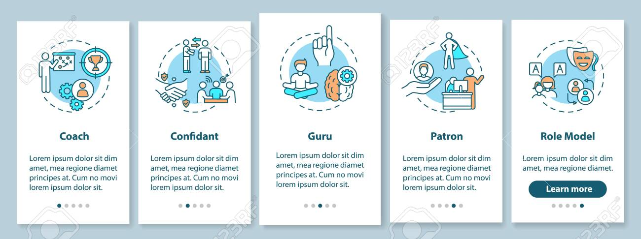 Role model types onboarding mobile app page screen with concepts. Leadership for student guidance walkthrough 5 steps graphic instructions. UI vector template with RGB color illustrations - 148913449