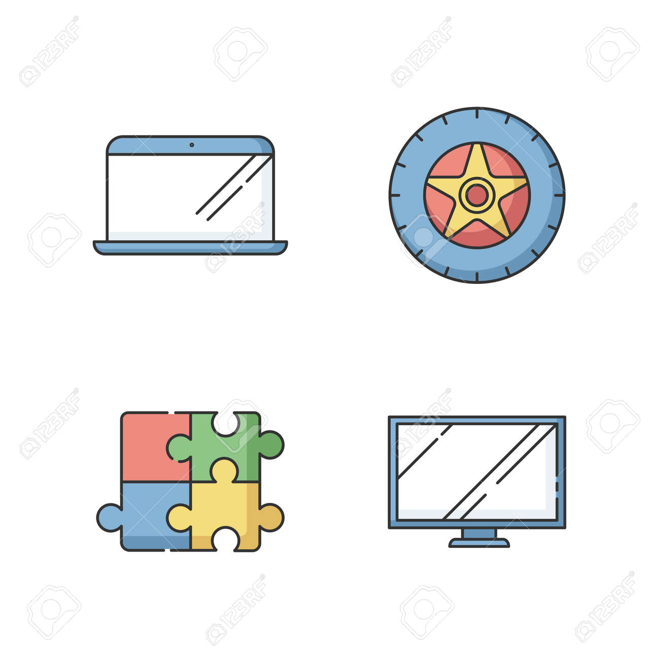 E commerce products RGB color icons set. Electronic devices. Automobile tyre. Car tire. Wheel with disk. Monitor for TV. PC digital screen. Laptop and notebook. Isolated vector illustrations - 152253628