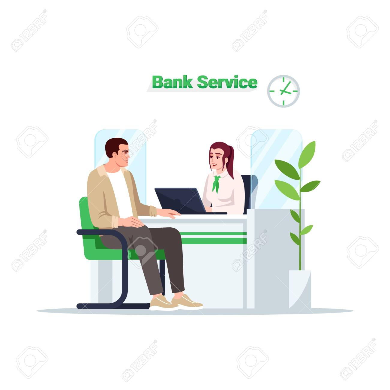 Bank service semi flat RGB color vector illustration. Customer on reception. Man talk with advisor. Male client with female consultant isolated cartoon character on white background - 152344938