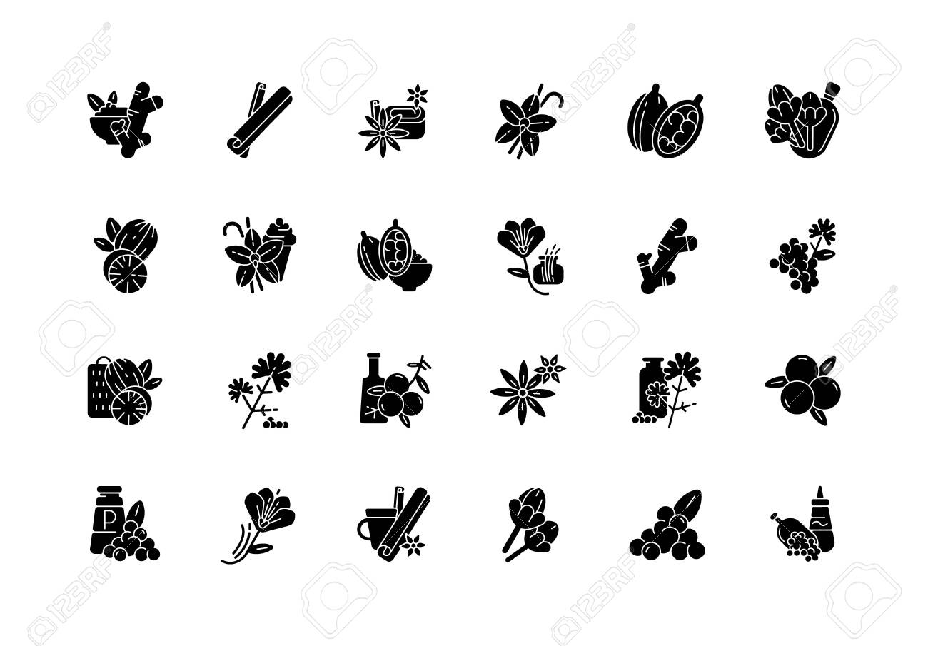 Asian spices black glyph icons set on white space. Culinary herbs. Cooking ingredients. Natural supplements. Cloves and star anise. Cardamom. Silhouette symbols. Vector isolated illustration - 153235871