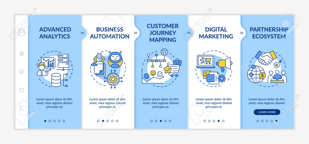 Digital counseling components onboarding vector template. Advanced analytics. Partnership ecosystem. Responsive mobile website with icons. Webpage walkthrough step screens. RGB color concept - 159289580