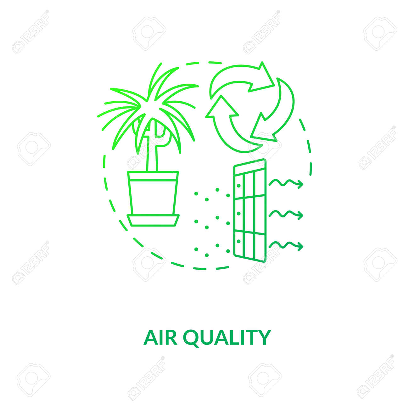 Air quality green concept icon. Indoor ventilation. Clean house. Environmental care. Air circulation. Biophilia idea thin line illustration. Vector isolated outline RGB color drawing - 159287643
