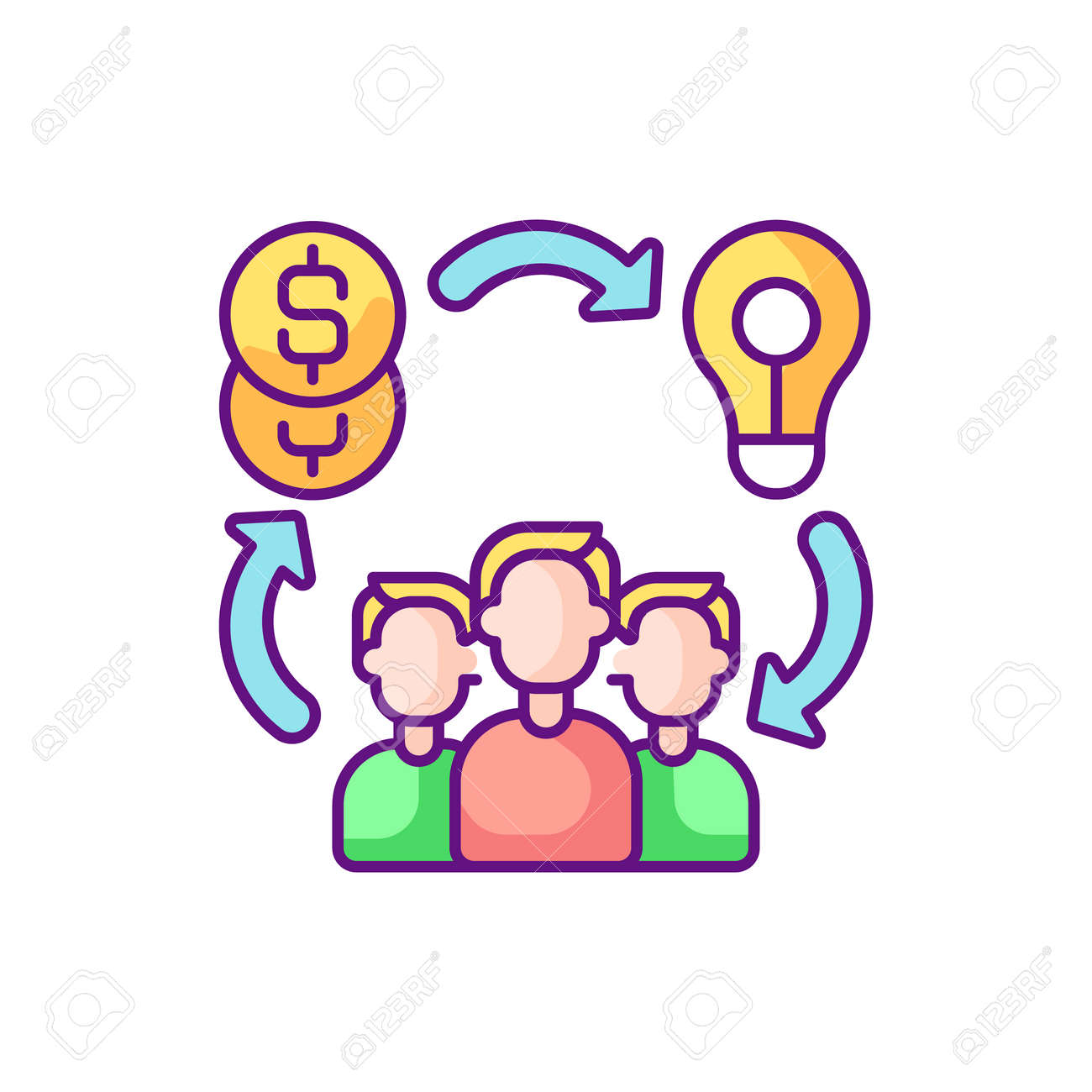 Social entrepreneurship RGB color icon. Approach by companies in which they develop and implement solutions to social issues. Isolated vector illustration - 159667654