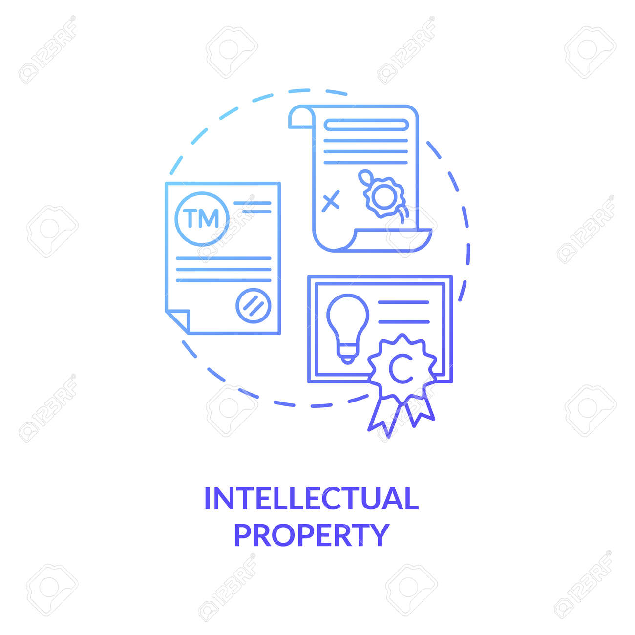 Intellectual property concept icon. Intangible asset idea thin line illustration. Mental-work products. Literary and artistic works. Copyrights, trademarks. Vector isolated outline RGB color drawing - 161725089