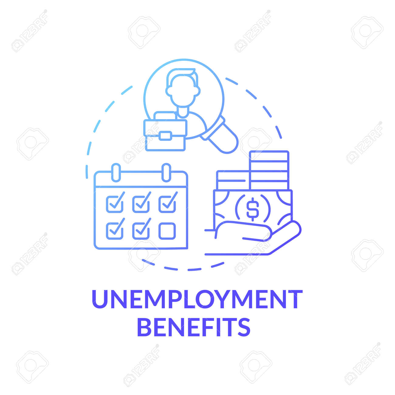 Unemployment benefits concept icon. Lose job and temporary income idea thin line illustration. Getting help pay expenses. Unemployed people. Vector isolated outline RGB color drawing - 166105609
