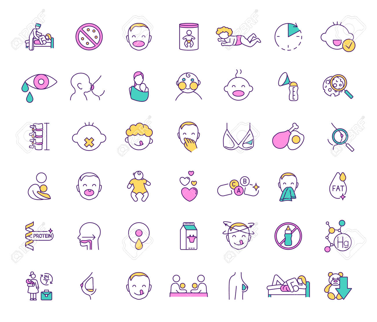 Breastfeeding and baby food RGB color icons set. Feeding method. Milestones. Prenatal education providing. Maternal bond. Breastmilk substitutes. Baby cues. Infancy. Isolated vector illustrations - 166225201