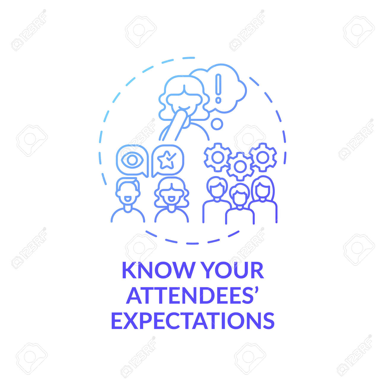 Knowing attendees expectations concept icon. VE marketing idea thin line illustration. Wow factor. Providing full satisfaction. Quality service. Vector isolated outline RGB color drawing - 167308650