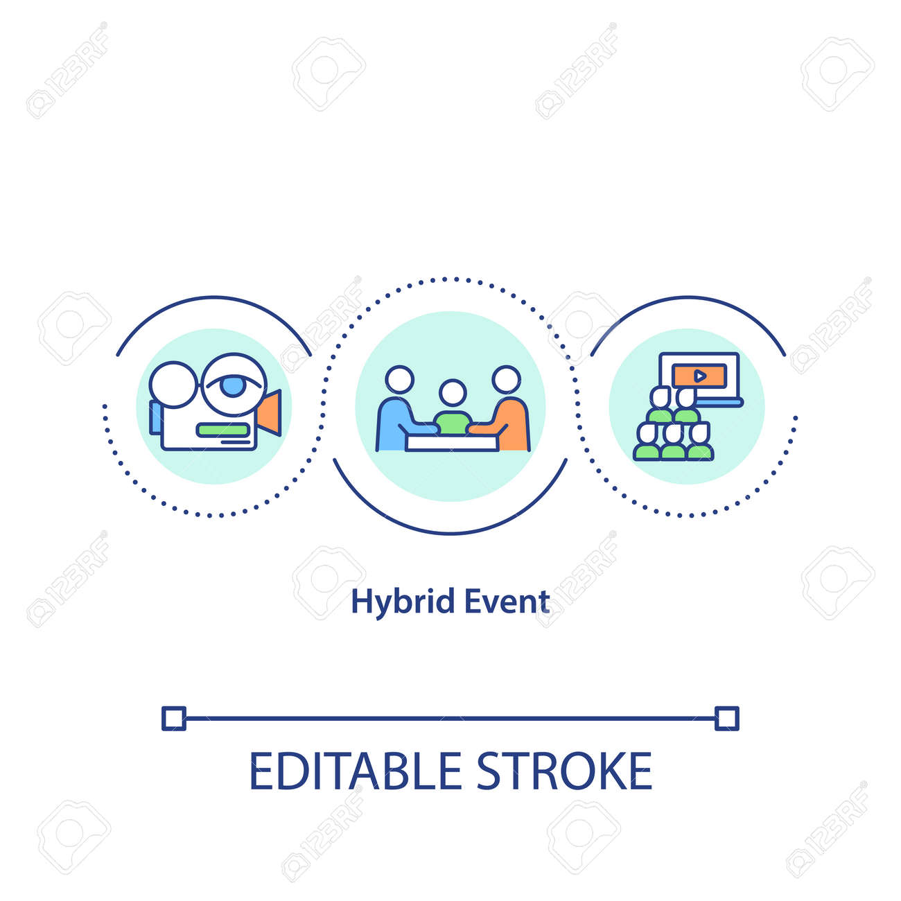 Hybrid event concept icon. Live and virtual components mix idea thin line illustration. Remote and in-person attendees connection. Vector isolated outline RGB color drawing. Editable stroke - 167213062