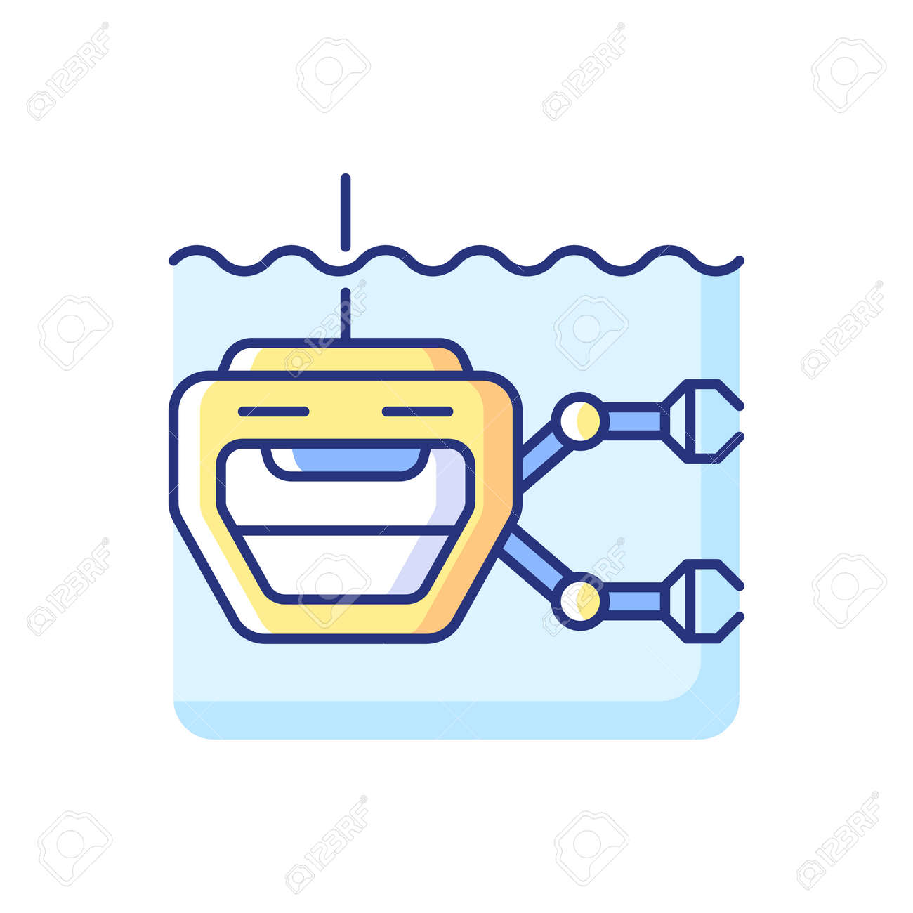 ROV RGB color icon. Remotely operated underwater vehicle is tethered underwater highly maneuverable mobile device used for ocean discovery. Isolated vector illustration - 167258912
