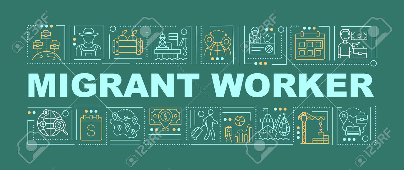 Migrant worker word concepts banner. Immigration for job. Recruitment o work abroad. Infographics with linear icons on dark green background. Isolated typography. Vector outline RGB color illustration - 167285158