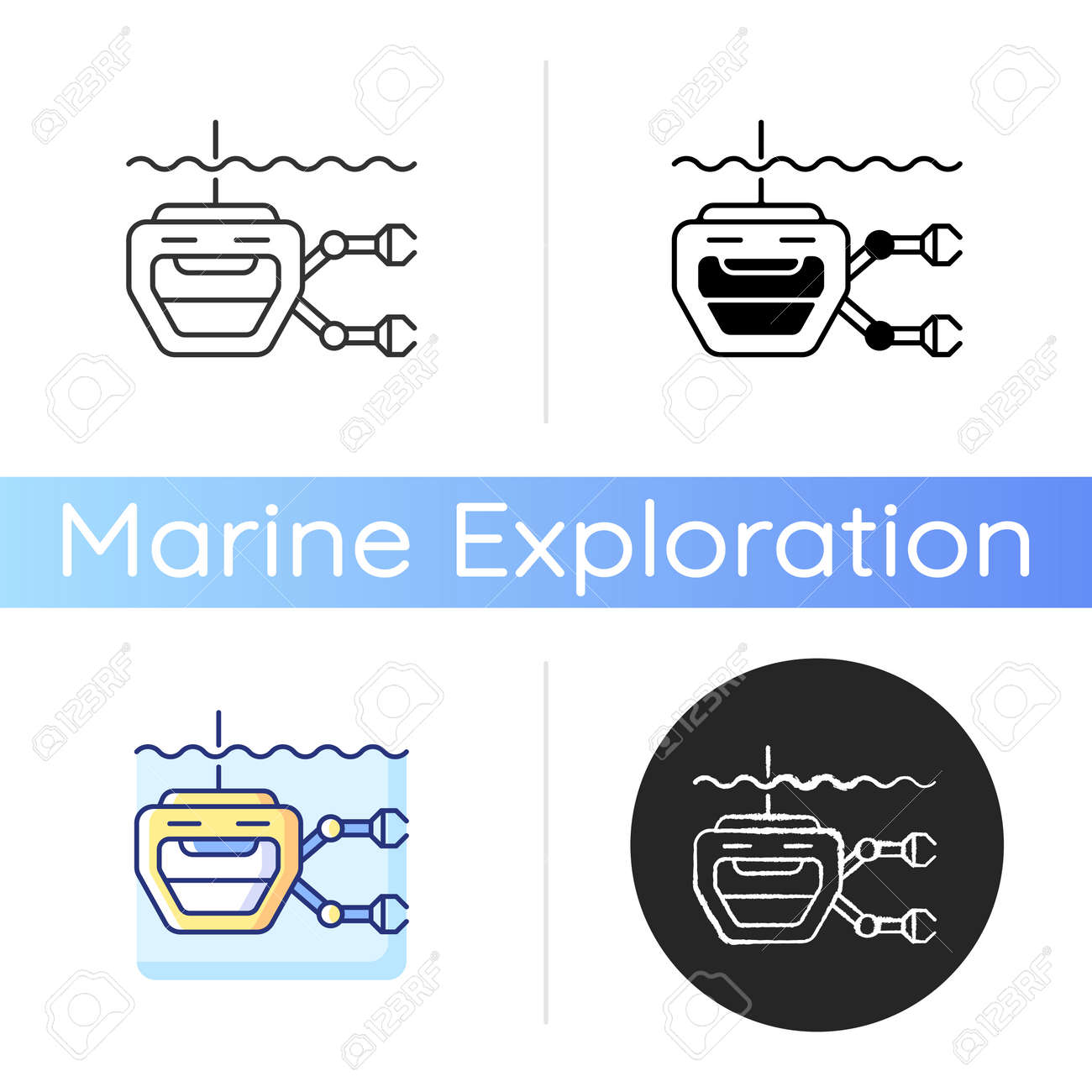 ROV icon. Remotely operated underwater vehicle is tethered underwater highly maneuverable mobile device. Linear black and RGB color styles. Isolated vector illustrations - 167331047