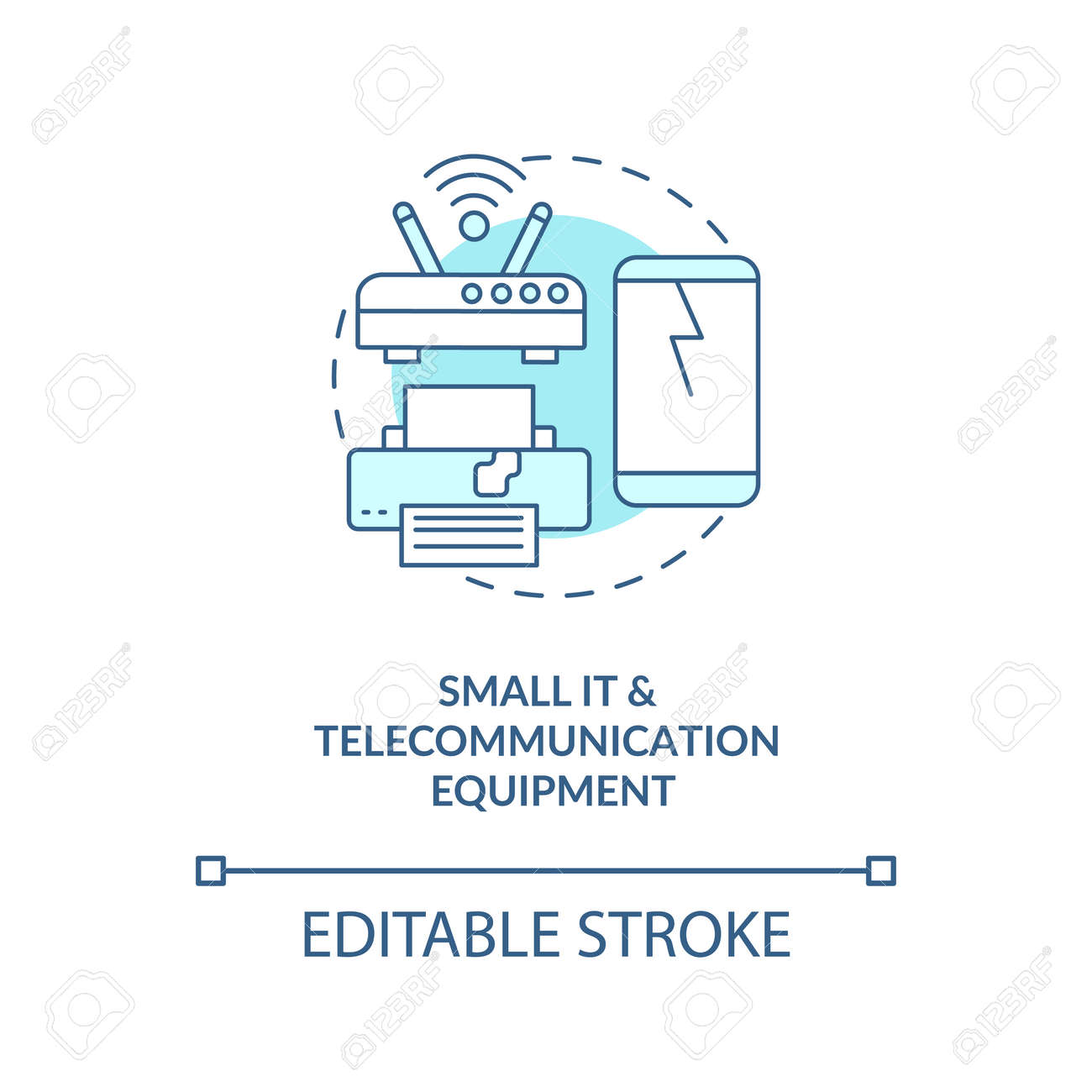 Small IT and telecommunication equipment concept icon. E-waste category idea thin line illustration. Copying equipment and fax machines. Vector isolated outline RGB color drawing. Editable stroke - 168568154